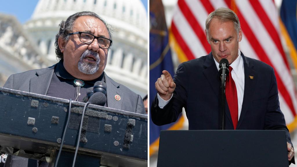(Left) Arizona Rep. Raul Grijalva and (Right) Interior Secretary Ryan Zinke.
