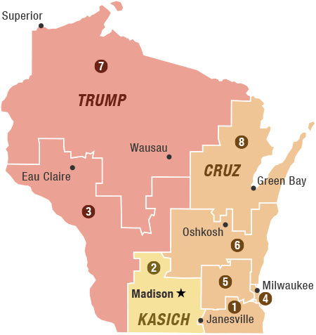 Wisconsin GOP Political Geography: By congressional district, Donald Trump is expected to be strongest in the western half of the state; Ted Cruz, the eastern half; and John Kasich, around the state capital.