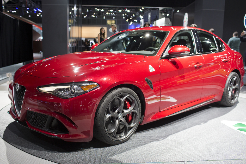 Alfa Romeo's new Giulia is on display during the Los Angeles Auto Show on Wednesday, Nov. 18, 2015 at the Los Angeles Convention Center.
