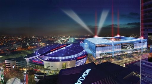 AEG proposes to build a football stadium adjacent L.A. Live and Staples Center, which it also owns.