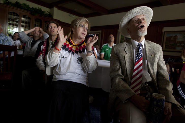 Brent English of Walnut watches the United States shoot on Germany's goal during their World Cup game during a watch party at the Phoenix Club in Anaheim.