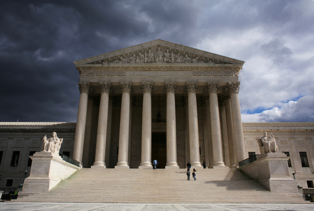 A photo shows the US Supreme Court in Washington, DC.