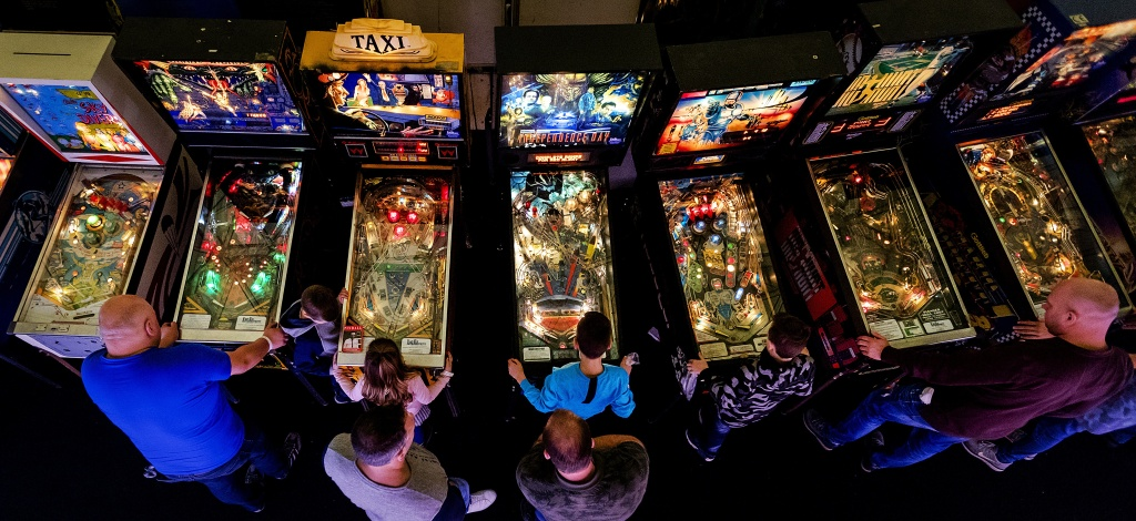 Game enthusiasts attend the Dutch Pinball Open, where approximately 500 pinball machines were available to be played in Eindhoven on November 12, 2017.