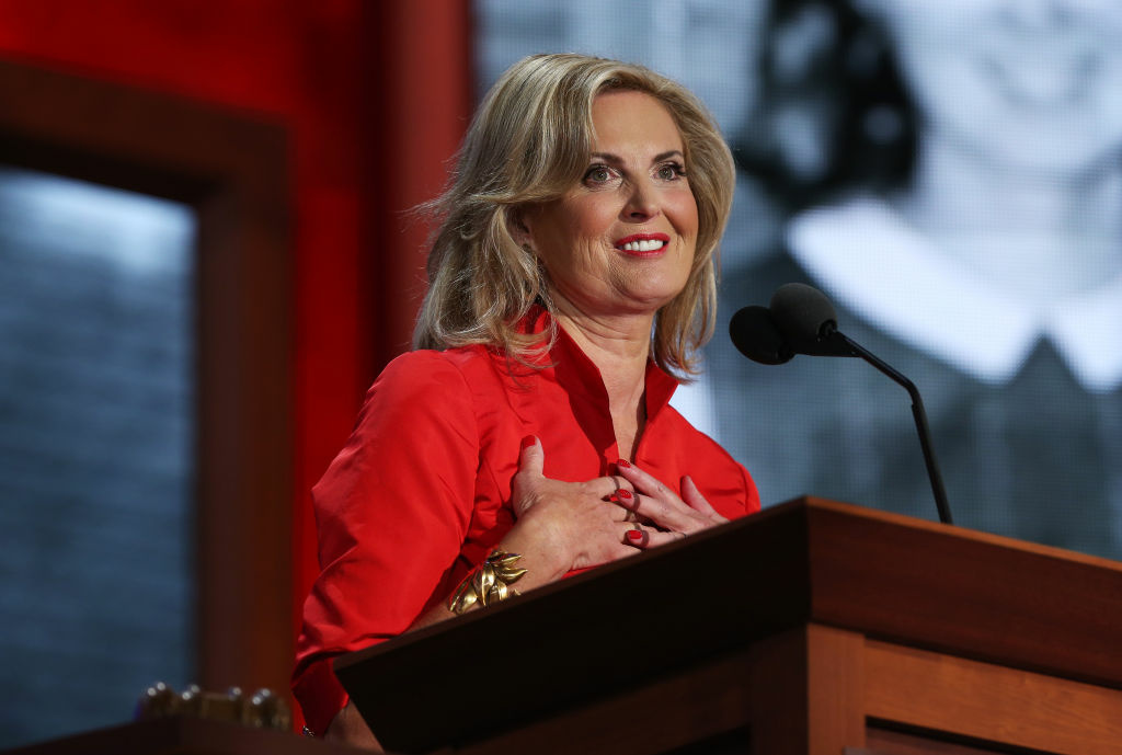 Ann Romney, wife of Republican presidential candidate, former Massachusetts Gov. Mitt Romney, speaks on stage during the Republican National Convention.