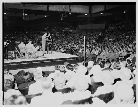 Evangelical minister Billy Graham addresses a rally at the American Legion Stadium in Hollywood in 1951.