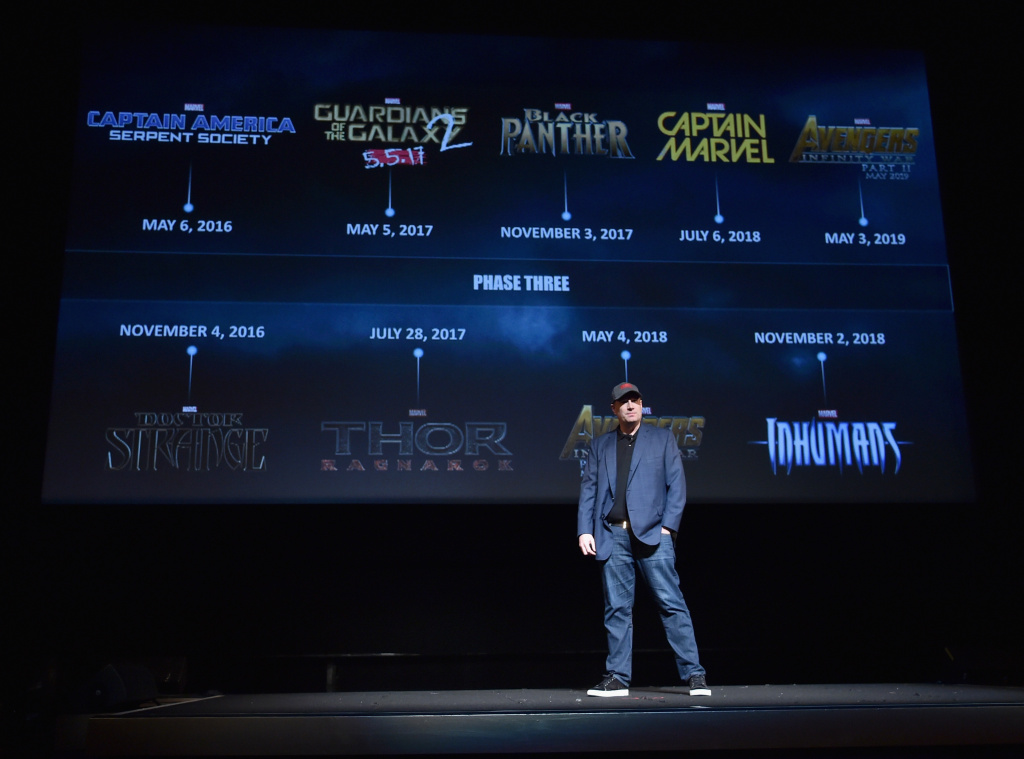 President of Marvel Studios Kevin Feige onstage during Marvel Studios fan event at The El Capitan Theatre on October 28, 2014 in Los Angeles.