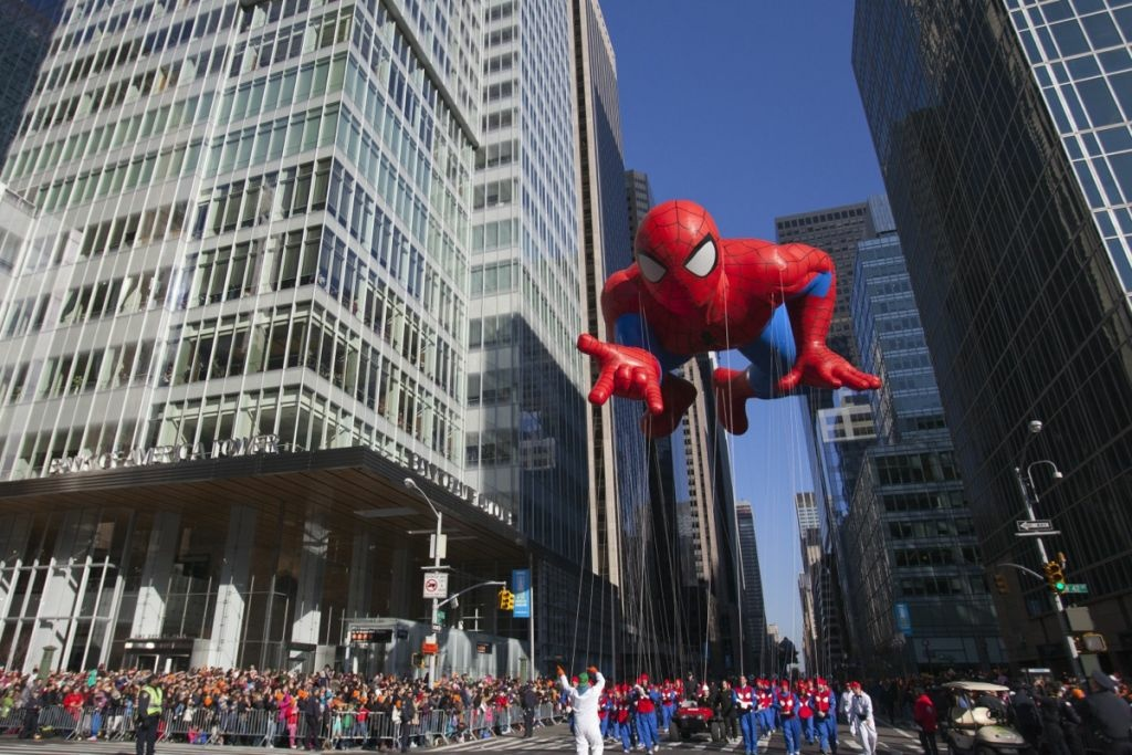 Spider-Man makes his way through NYC streets during the 86th Annual Macy's Thanksgiving Day Parade on November 22, 2012 in New York.