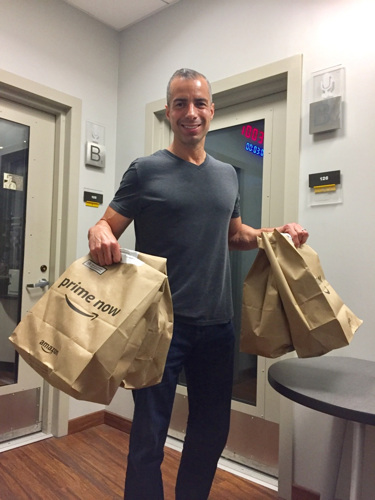 A Martinez placed his first order from Amazon's Whole Foods grocery delivery service, which launched in Los Angeles today. It cost about $40 and showed up in less than two hours.