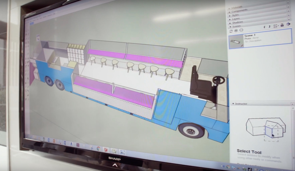 "A screenshot from a YouTube video promoting RISE by ""XQ: The Super School Project"" shows a mock-up of the ""mobile resource center,"" a modified coach bus that will serve as a space where the school's highly-transient population of homeless and foster youth can meet with teachers and access social services."