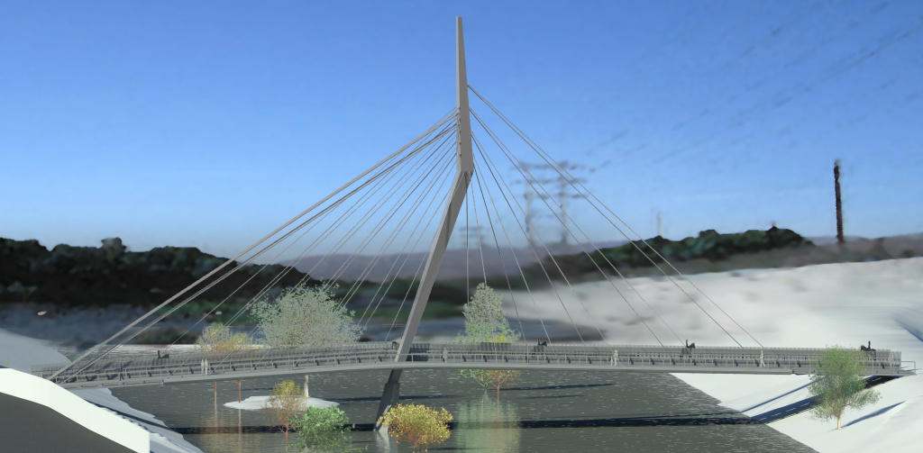 A rendering of the North Atwater bridge that will open in late 2019 shows it spanning the Los Angeles River between Griffith Park and Atwater Village.