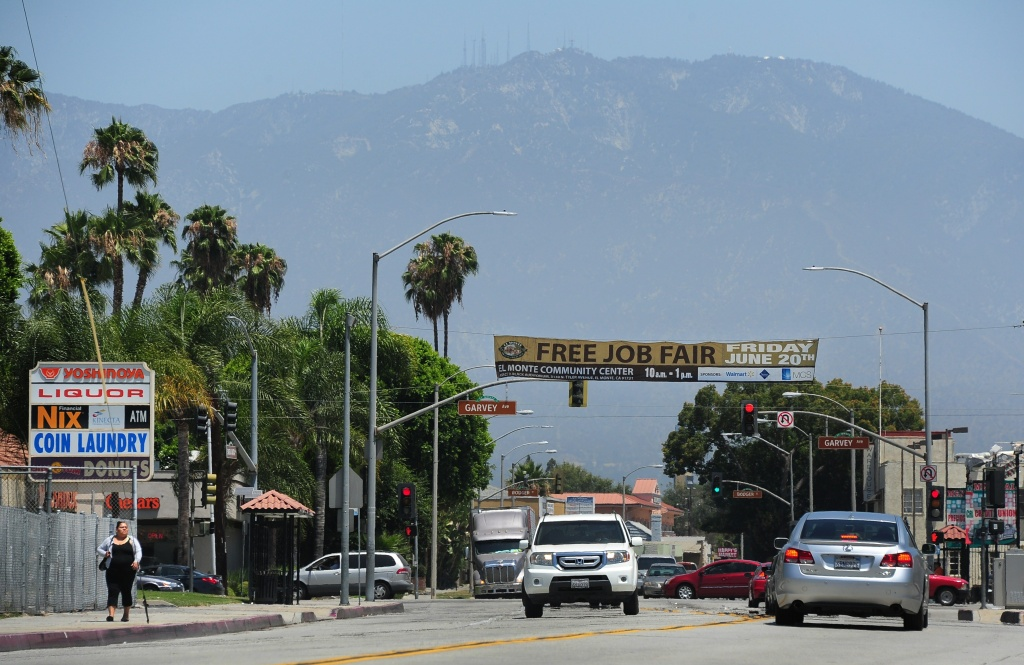 File photo: The San Gabriel Mountains behind the city of El Monte, California, where Federal law enforcement agencies staged a morning operation, arresting 17 members and associates of the El Monte Flores gang on July 30, 2014. According to the US Attorney's office, the gang operates under the direction of the Mexican Mafia in the cities of El Monte and South El Monte.