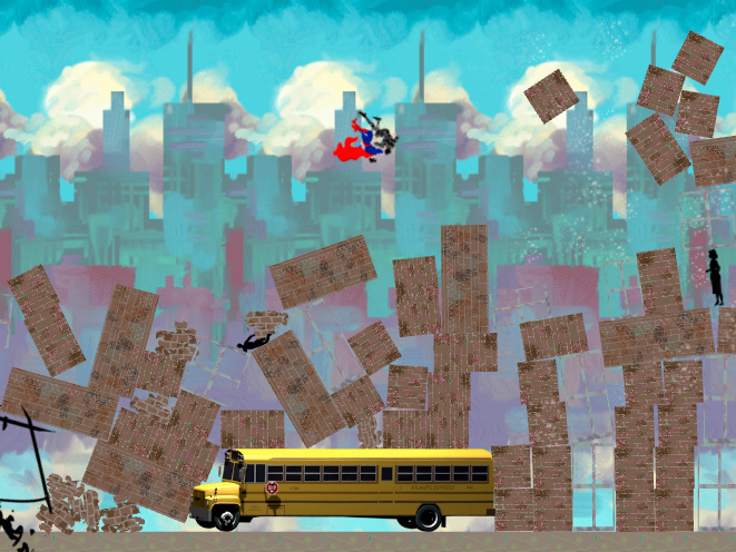 "A screenshot from the game ""Mass Murderer of Steel,"" satirizing the film ""Man of Steel."""