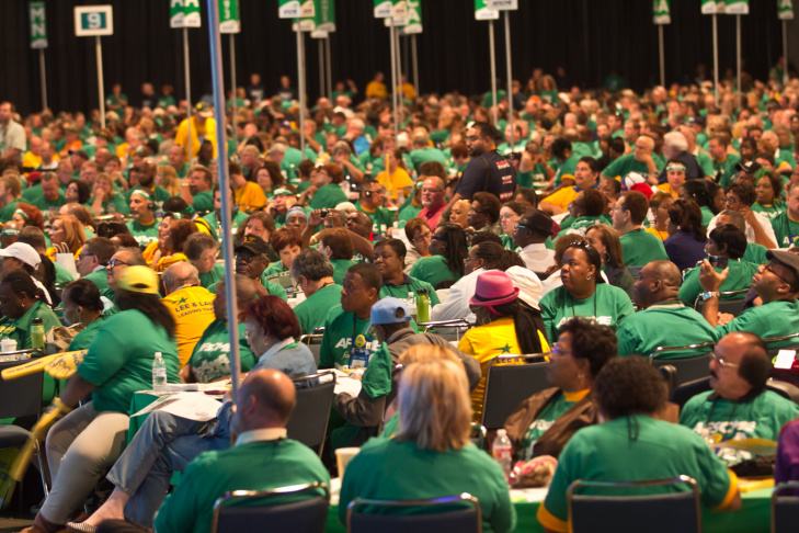 Vice President Joe Biden gives a speech to members of the American Federation of State, County and Municipal Employees (AFSCME) at the Los Angeles Convention Center on June 19, 2012.