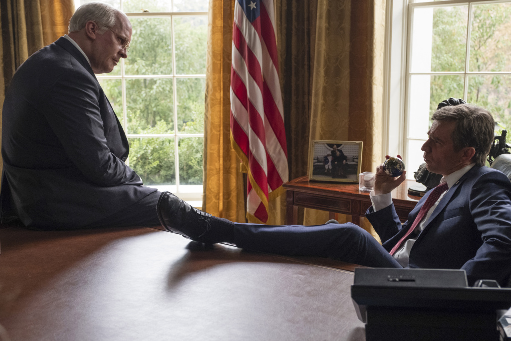 Christian Bale (left) as Dick Cheney and Sam Rockwell (right) as George W. Bush in Adam McKay's VICE, an Annapurna Pictures release.