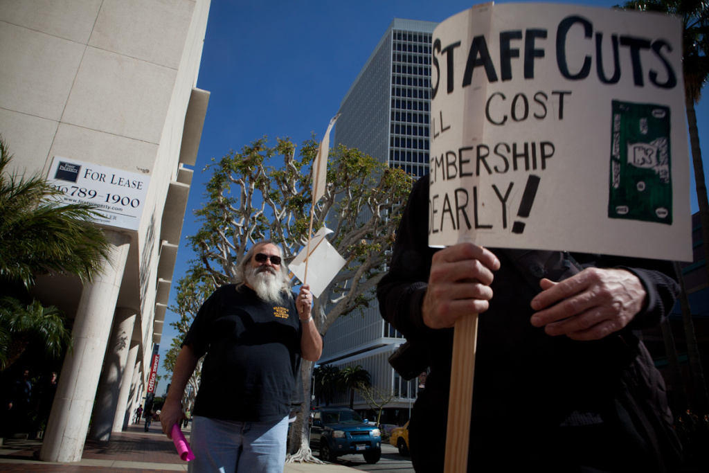 Dave Slattery, an actor who is a member of SAG, stands with fellow actors in protest of the proposed SAG/AFTRA merger.