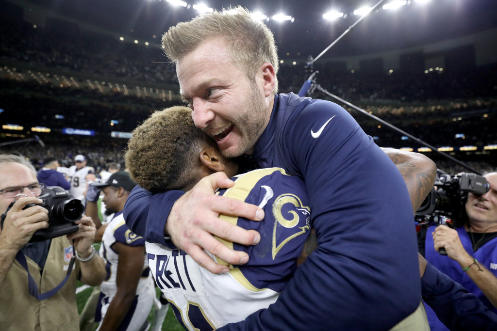 Head coach Sean McVay of the Los Angeles Rams celebrates Gerald Everett #81 after defeating the New Orleans Saints in the NFC Championship game at the Mercedes-Benz Superdome on January 20, 2019 in New Orleans, Louisiana