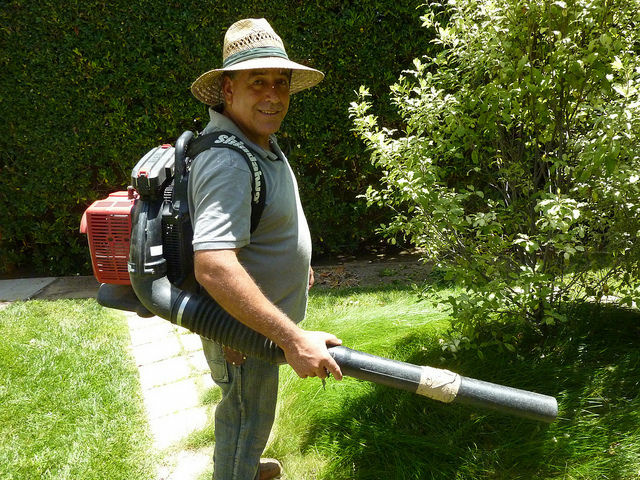 Gardener Martin Gutierres and his leaf blower.