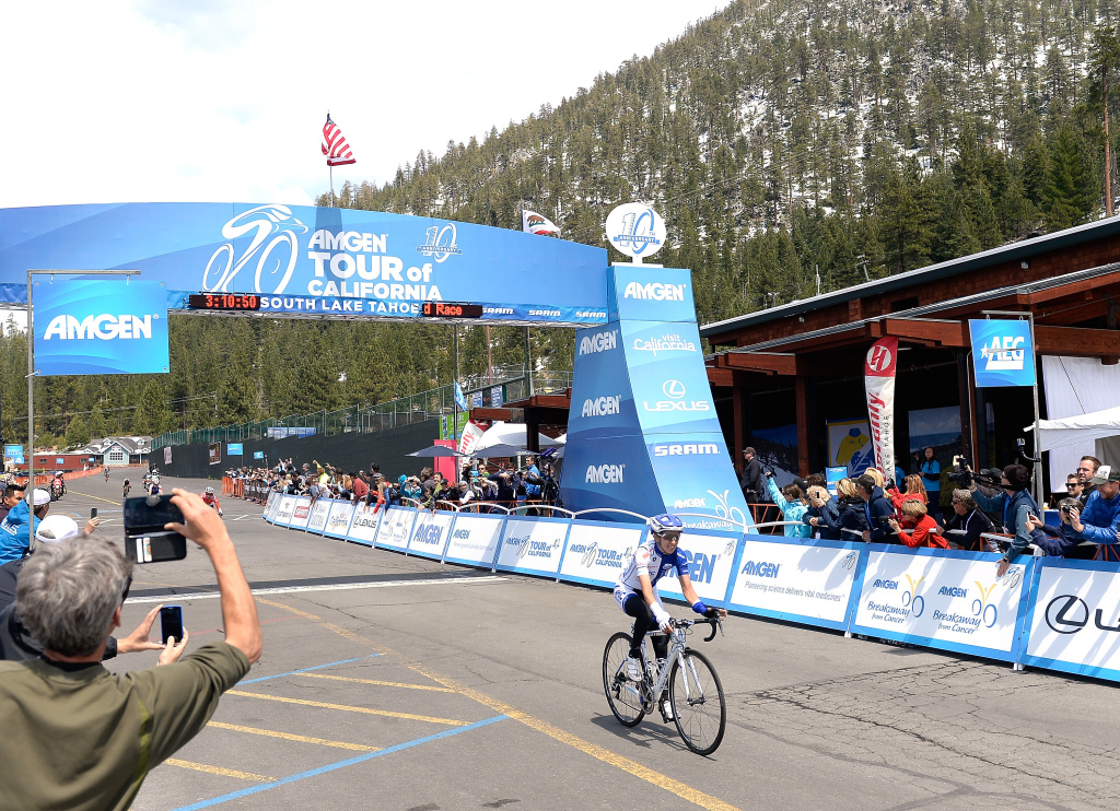Katie Hall riding for UnitedHealthcare Pro Cycling crosses the finish line to win stage one of the 2015 Amgen Tour of California women's race at the Heavenly Mountain Resort on May 8, 2015 in South Lake Tahoe, California.