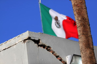 A customs building at the U.S.-Mexico border is seen damaged after an earthquake April 5, 2010 in Mexicali, Mexico. The 7.2 magnitude earthquake in Baja California, Mexico yesterday caused damage to structures on both sides of the border and could be felt as far as Los Angeles and Phoenix.