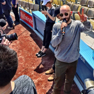 X Ambassadors lead singer Sam Harris doing a mike check for his performance of the National Anthem at Tuesday's Dodgers home opener.