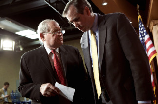 Sen. Carl Levin (D-MI) (L) and Sen. Jeff Merkley (D-OR) leave after a press conference on Capitol Hill May 10, 2010 in Washington, DC.