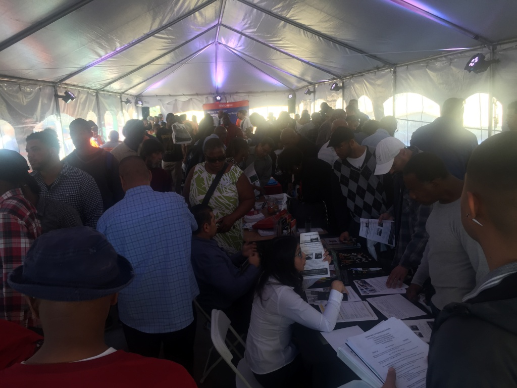 Metro staged a career resource fair for construction work in a tent outside the MTA building. Under a new pilot project, L.A. County residents might get priority in hiring