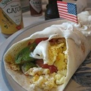 The flag burrito photo that started it all. Accompanied by Cajun sauce, of all things. We promise not to use it again - not in this blog, at least.