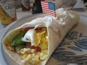 Just to be clear, the burrito in this picture DOES NOT contain meth. It is just a picture of a delicious breakfast burrito, with an American flag in it.