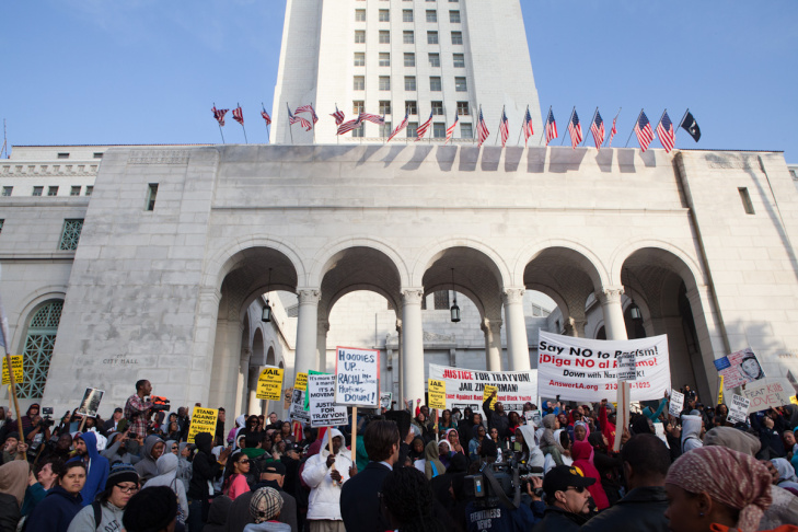 The hoodie rally for Trayvon Martin ended on the steps of Los Angeles' City Hall.