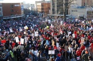 An estimated 65,000 protestors descended on Wisconsin's legislature on February 19, 2011 in the fifth day of mass demonstrations against a Republican plan to bust public workers unions.