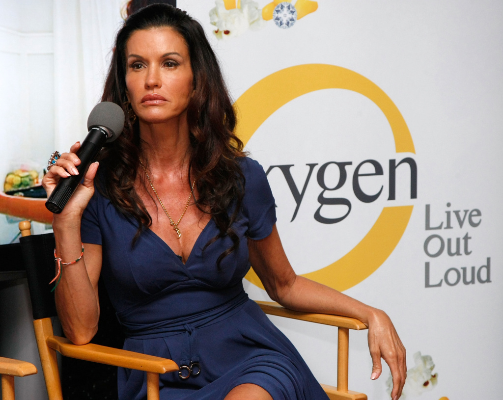 Supermodel and Media Personality Janice Dickinson judges a model walk-off competition at the NBC Experience Store.