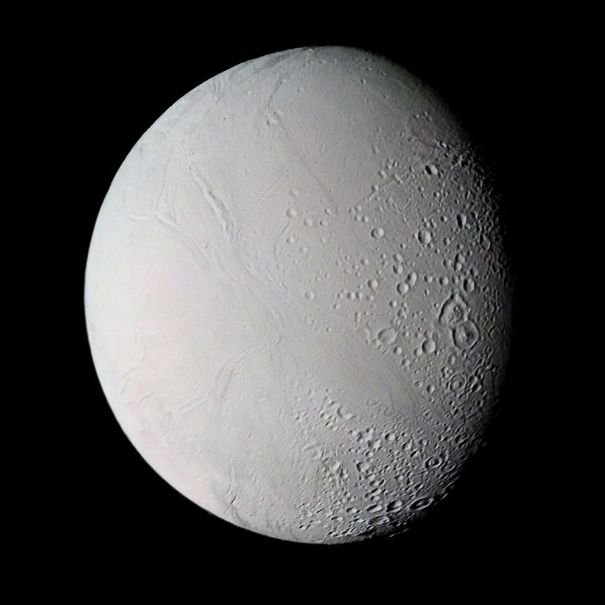 Enceladus, as seen by NASA's Voyager 2 spacecraft.