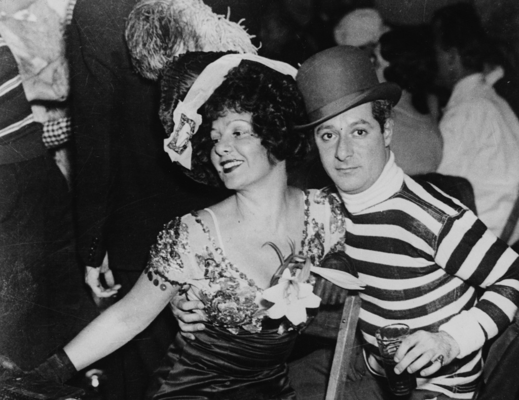 Actors and spouses Norma Talmadge and George Jessel attend a costume party on November 15, 1933.