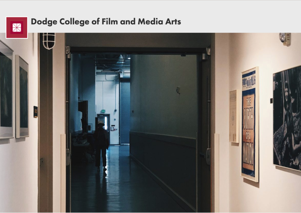 Screenshot of Dodge College of Film and Media Arts webpage. The image shows the