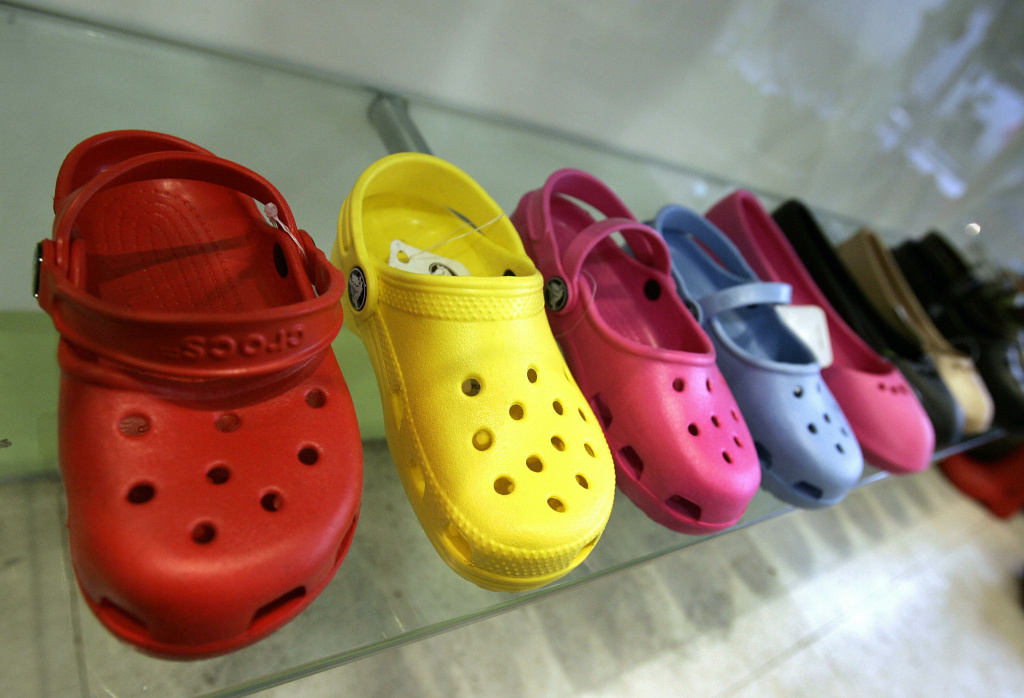A sample of Crocs shoes on display in a midtown New York City shoe store 21 February 2007.  Crocs is an American company founded by Lyndon