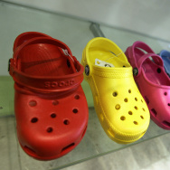 A sample of Crocs shoes on display in a