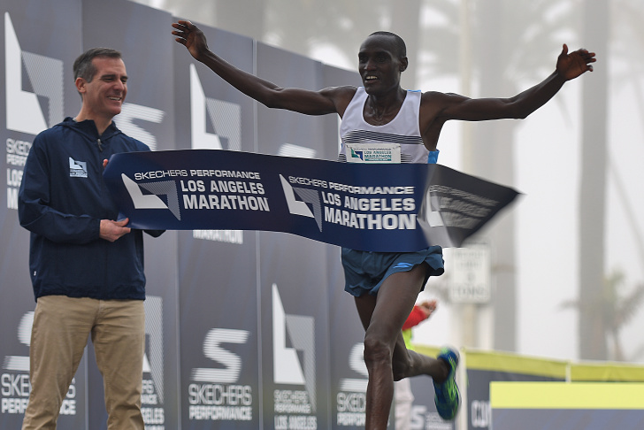Weldon Kirui of Kenya takes first place in the 2016 Skechers Performance Los Angeles Marathon on February 14, 2016.