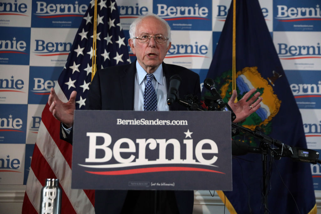 Democratic presidential candidate Sen. Bernie Sanders (I-VT) speaks to members of the media during a news briefing at his campaign office March 4, 2020 in Burlington, Vermont.