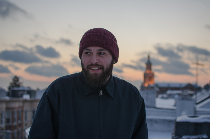 Nick Hakim on the rooftop of his home in Brooklyn, NY.