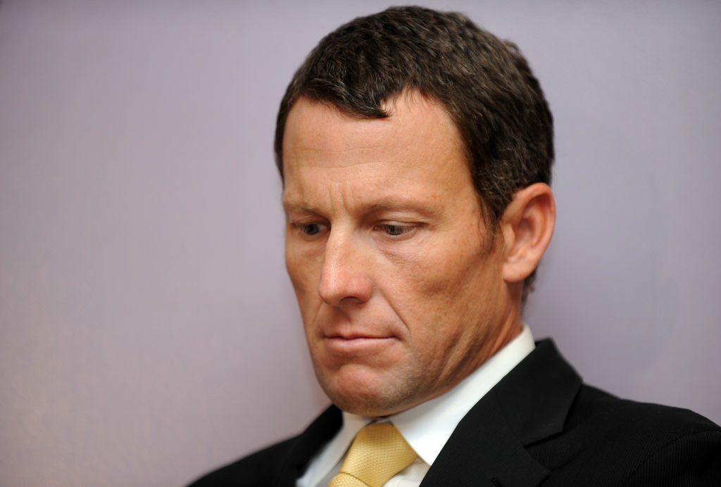 Seven-time Tour de France winner Lance Armstrong attends a press conference in Los Angeles on February 28, 2011.
