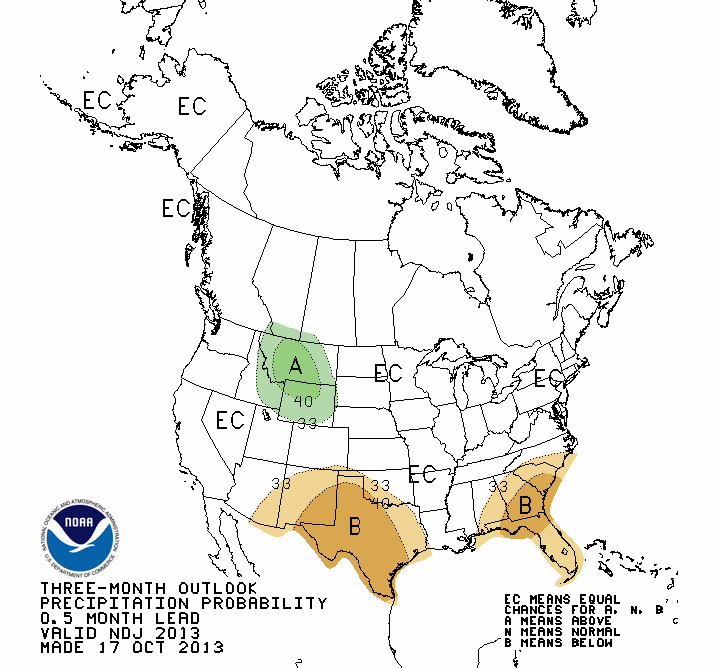 "The above chart from NOAA indicates a prevailing  ""La Nada"" weather pattern means there's an equal chance for a wet or dry winter in most of the country."