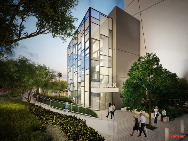 Rendering of IMAX Corporation's planned west coast headquarters in Playa Vista.  IMAX plans to move 120 employees from Santa Monica during the first half of 2015.