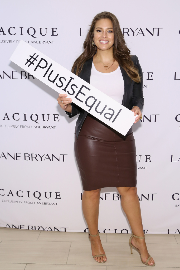 NEW YORK, NY - SEPTEMBER 14:  Model Ashley Graham attends the Lane Bryant launch of the #PlusIsEqual campaign at Times Square on September 14, 2015 in New York City.  (Photo by Monica Schipper/Getty Images for Lane Bryant)