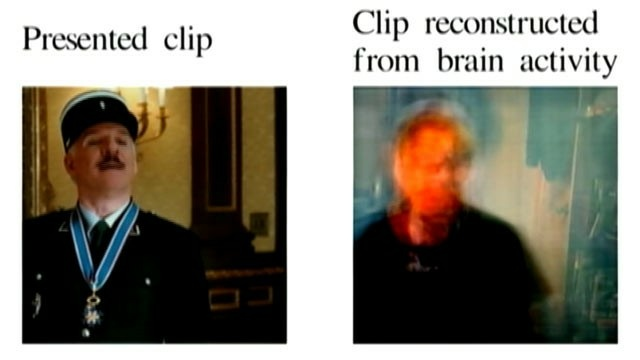 A result from the study. Researchers watched movie clips and a computer program pieced together data from their brain activity to form an image.