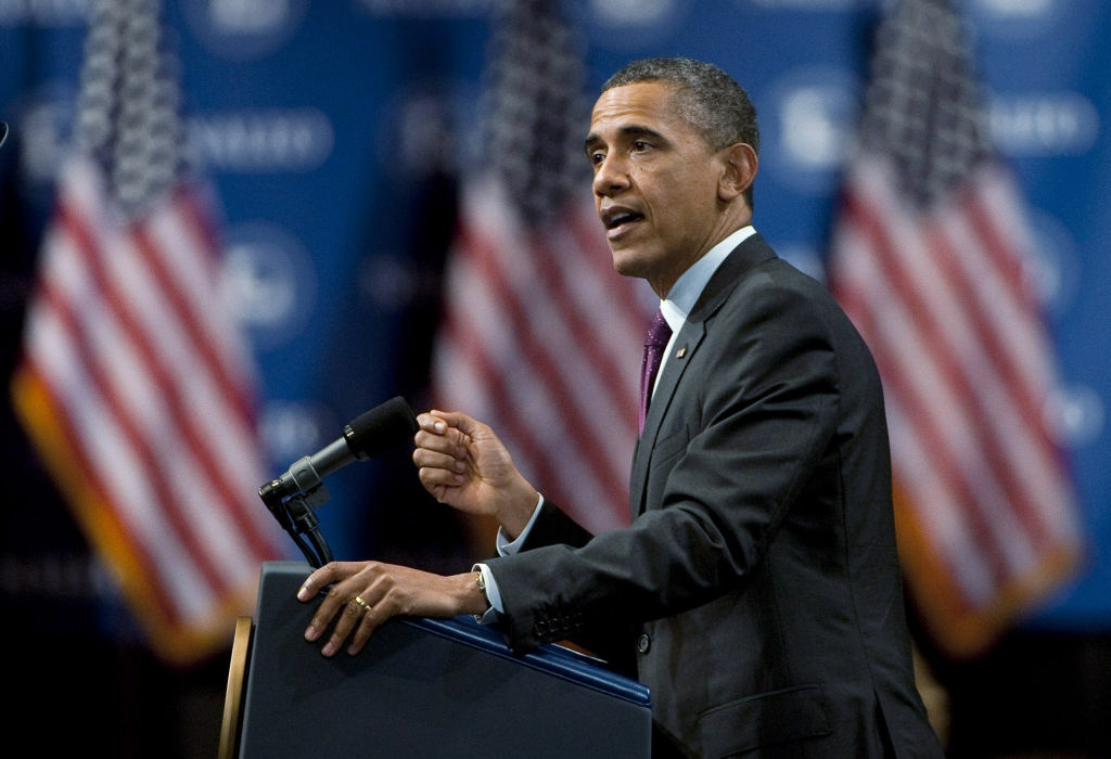 President Barack Obama addresses the audience at the 29th annual NALEO conference June 22, 2012 in Lake Buena Vista, Florida. The National Association of Latino Elected and Appointed Officials also hosted Republican Presidential candidate, former Massachusetts Governor Mitt Romney