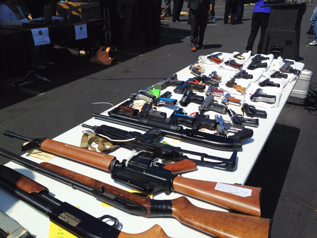 These guns and drugs were seized over a three-year investigation into alleged crimes by 72 members of the Five Deuce Broadway Gangster Crips gang. Police seized nine guns Tuesday morning, June 17, 2014 during wide sweeping arrests of gang members associated with the gang.