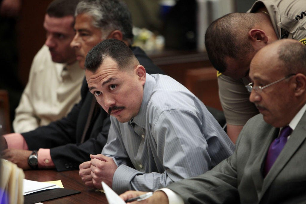 Defendant Louie Sanchez (L) during a preliminary hearing in Los Angeles Superior Court.