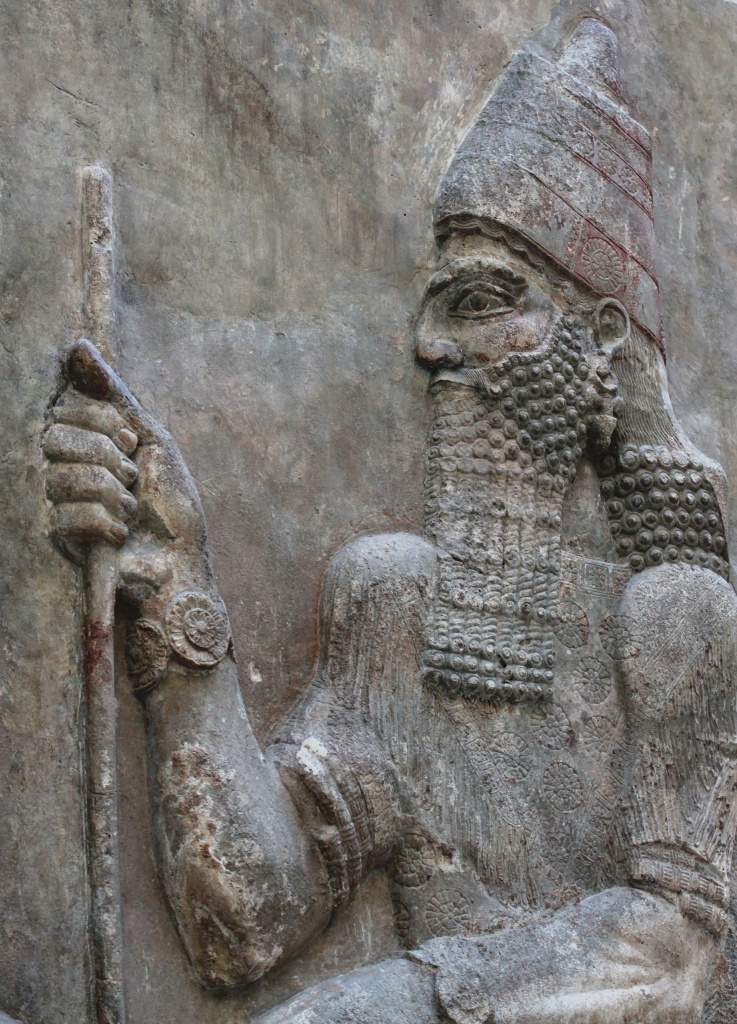 A carving of King Sargon II representing him in front of a dignitary, v. 716-713 BC. From the Louvre, Oriental Antiquities, room 4.