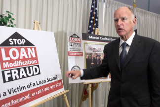 California Attorney General Jerry Brown, speaks at news conference Wednesday Aug. 12, 2009 in Los Angeles. Brown is calling on loan  rescuers to back up claims of high success rates in securing huge monthly savings for troubled borrowers. File photo.