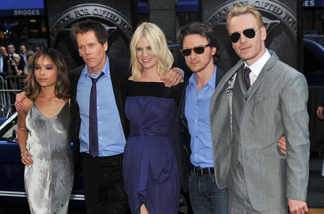 (L-R) Actors Zoe Kravitz, Kevin Bacon, January Jones, James McAvoy and Michael Fassbender attend the 'X-Men: First Class' New York Premiere at the Ziegfeld Theatre on May 25, 2011 in New York City.